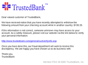 An example of a phishing email, disguised as an official email from a (fictional) bank. Image courtesy of Wikipedia